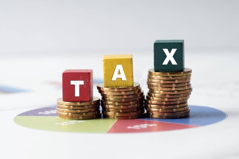 Belastingconcept met kleurrijk houten belastingwoord op cirkeldiagram royalty-vrije stock foto