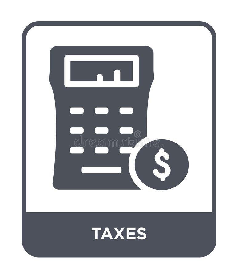 belastingenpictogram in in ontwerpstijl Belastingenpictogram op witte achtergrond wordt geïsoleerd die eenvoudige en moderne vlak royalty-vrije illustratie