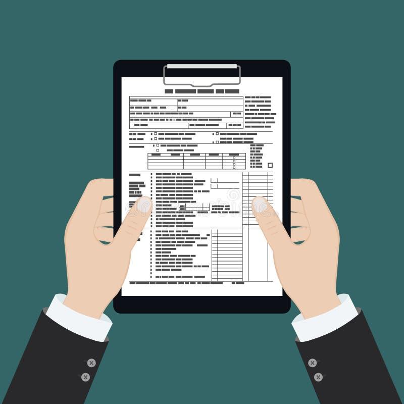 Belastingformulier op het klembord met vergrootglas Ongevuld, minimaal papier document Overheid, staatsbelastingen Betalingsdag royalty-vrije illustratie