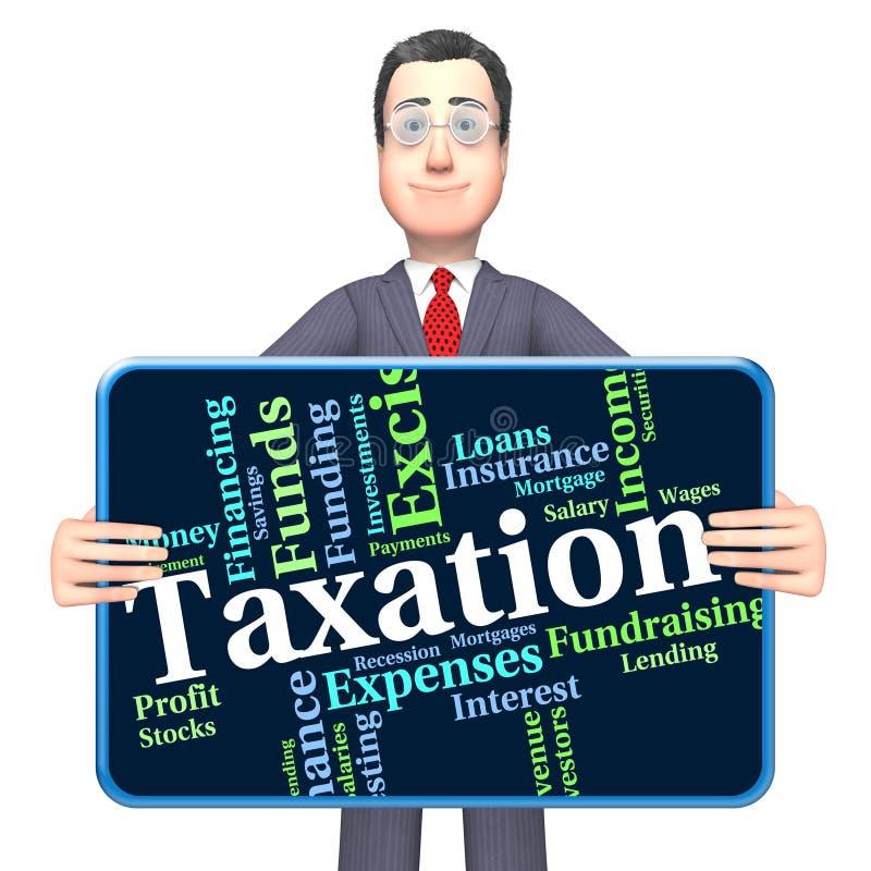 Belastingheffingsword wijst op Levy Taxes And Irs vector illustratie