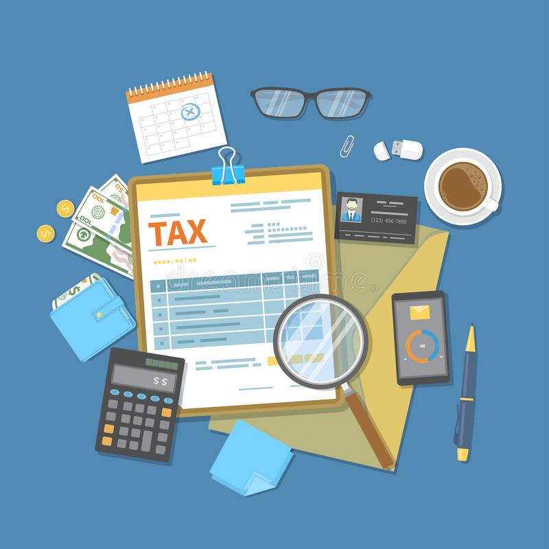 Belastingsbetaling Overheid, de belastingen van de Staat Betalingsdag Belastingsvorm op een klembord, financiële kalender, geld,  royalty-vrije illustratie