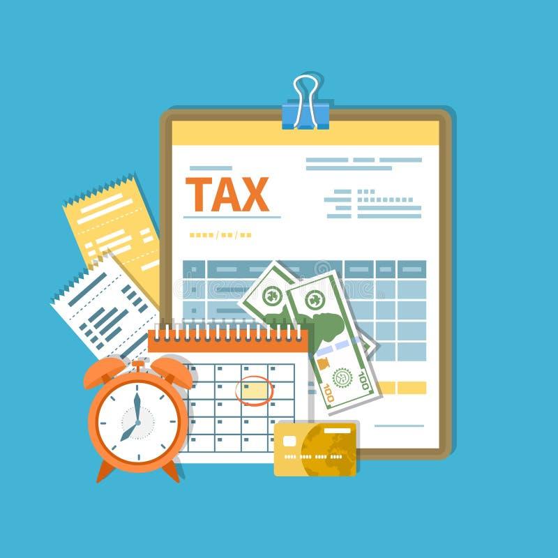 Belastingsbetaling Overheid, de belastingen van de Staat Betalingsdag Belastingsvorm op een klembord, financiële kalenderrekening stock illustratie