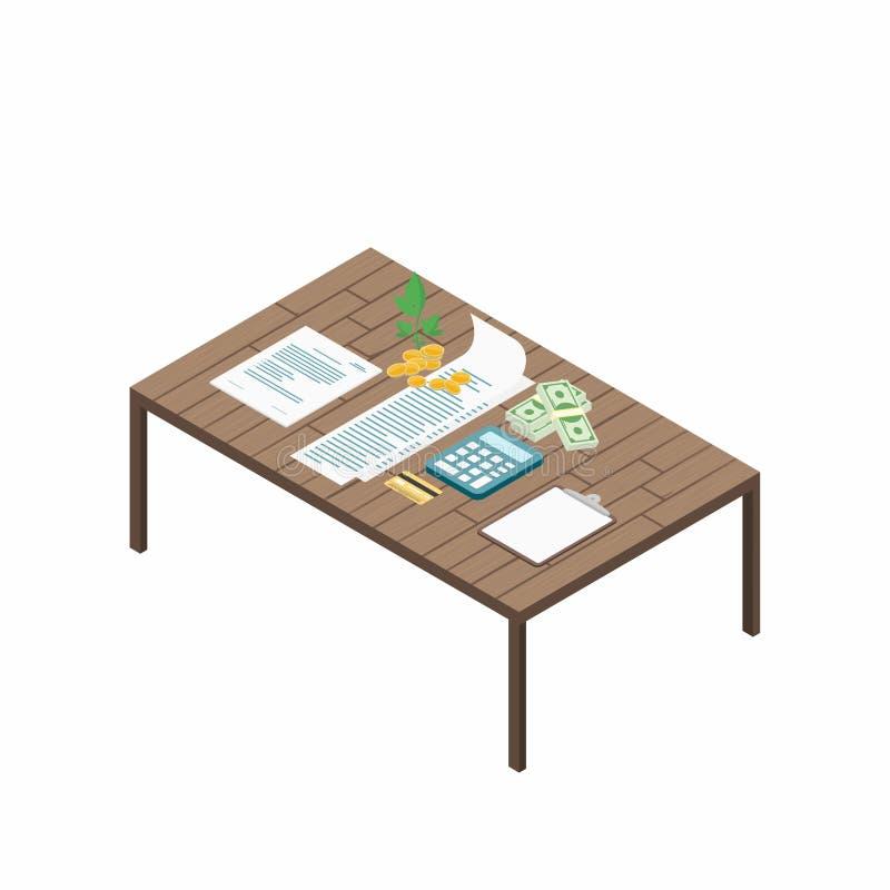 Belastingsbetaling Rekeningen met calculator, creditcard en contant geld op de lijst Betaling van nut, familiebegroting isometris royalty-vrije illustratie