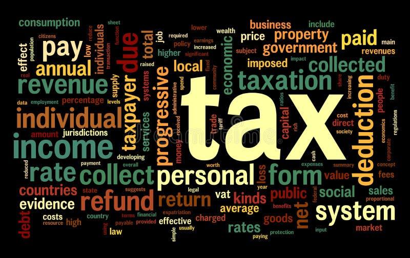 Belastingsconcept in de wolk van de woordmarkering vector illustratie