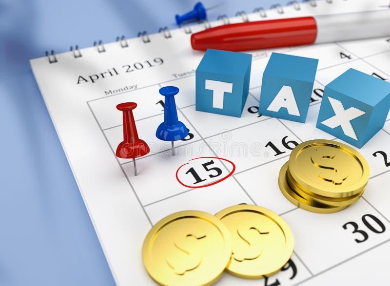 Belastingskalender van 15 April 2019 met kleurrijke spelden en muntstukken en kubussen met woordbelasting stock illustratie