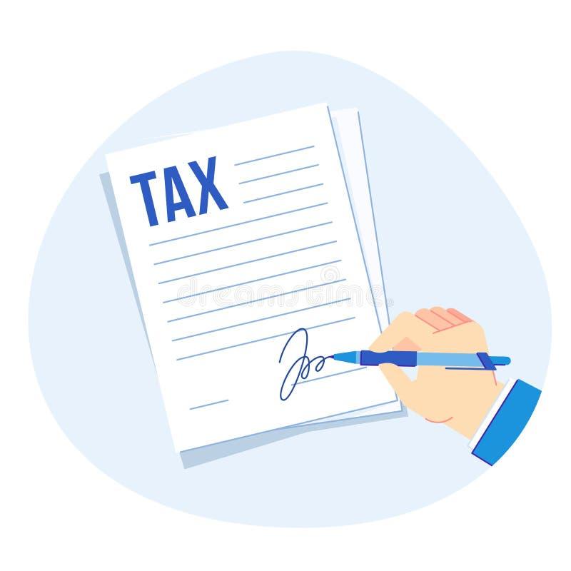 Belastingsvorm het ondertekenen Vennootschapsbelastingenrapport, bedrijfsfinanciënboekhouding en belastingheffings vectorillustra royalty-vrije illustratie