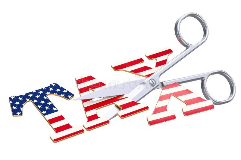 Belastingverlaging in het concept van de V.S. het 3d teruggeven stock illustratie