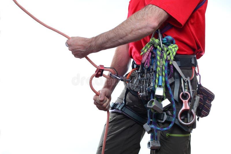 Belay del escalador fotos de archivo