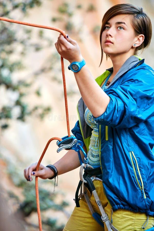 Belayer con la corda fotografia stock libera da diritti