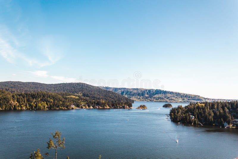 Belcarra widok od łup skały przy Północnym Vancouver, BC, Kanada obraz stock