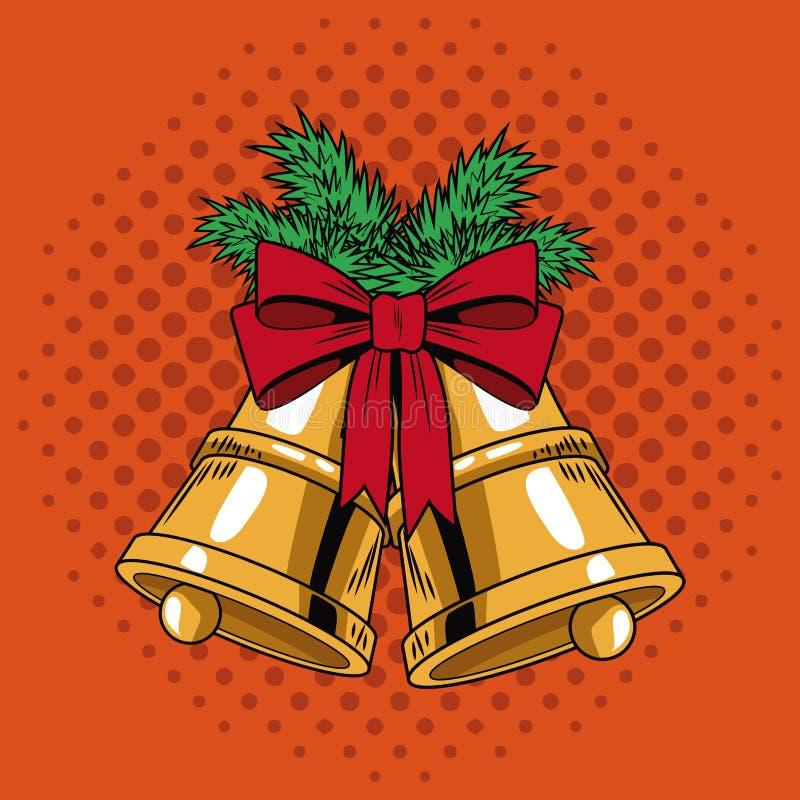 Belces con arte pop de la Navidad de la cinta ilustración del vector