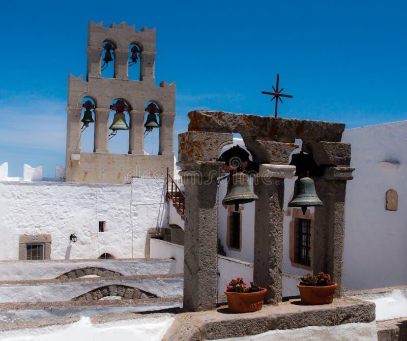 Belces del monasterio de San Juan en Grecia imagenes de archivo