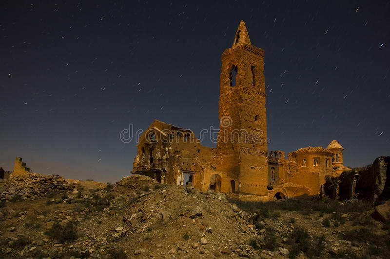 Belchite by Night stock images