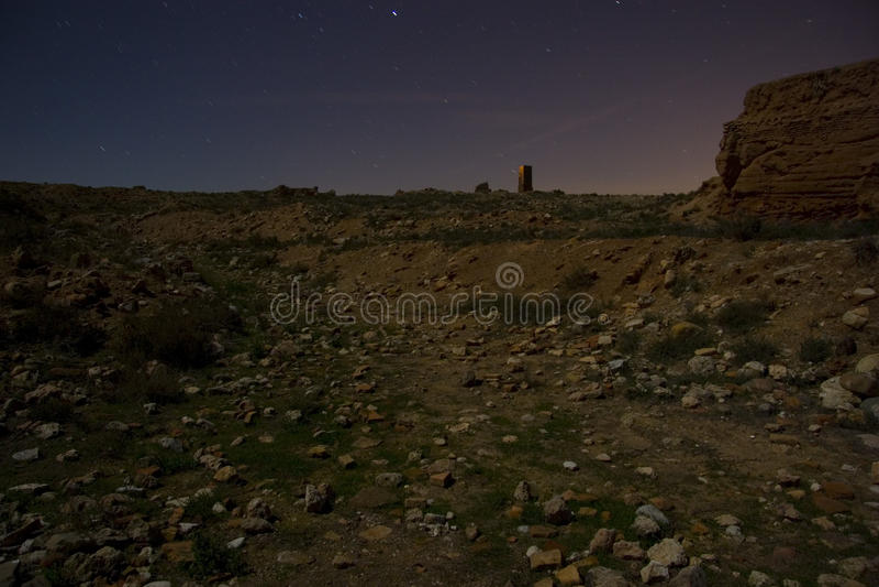 Belchite por noche fotografía de archivo