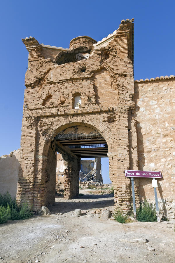 Belchite village destroyed in a bombing royalty free stock photography