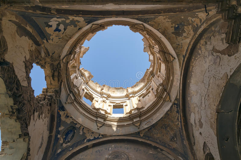 Belchite village destroyed in a bombing royalty free stock image