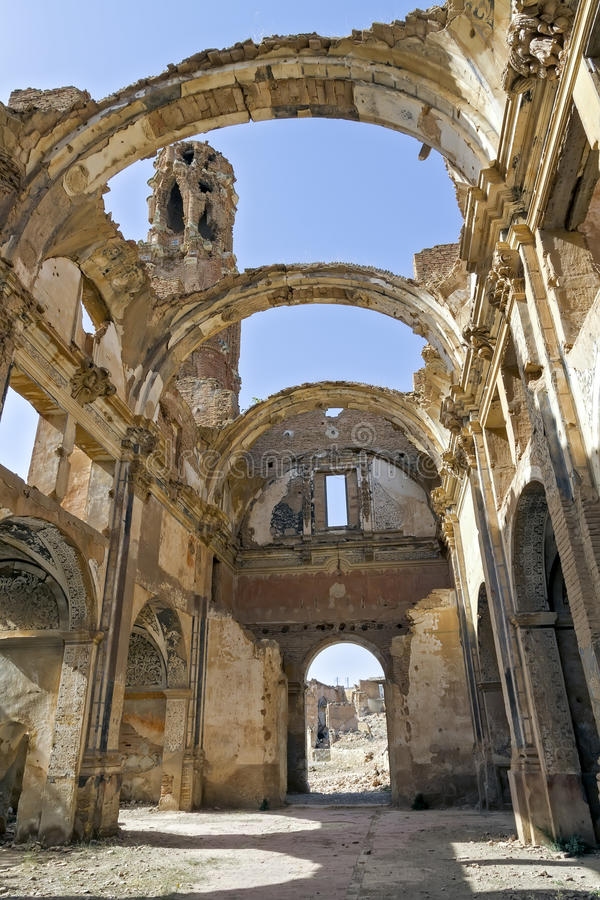 Belchite village destroyed in a bombing stock photography