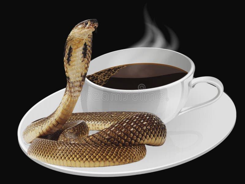 Belebender Kaffee mit einem Schlangenkuß lizenzfreie stockfotos