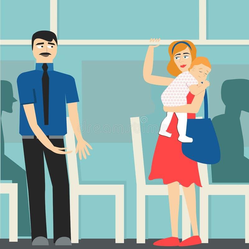 Beleefdheid de man op de bus geeft aan de dame met kind uiting etiquette vector illustratie