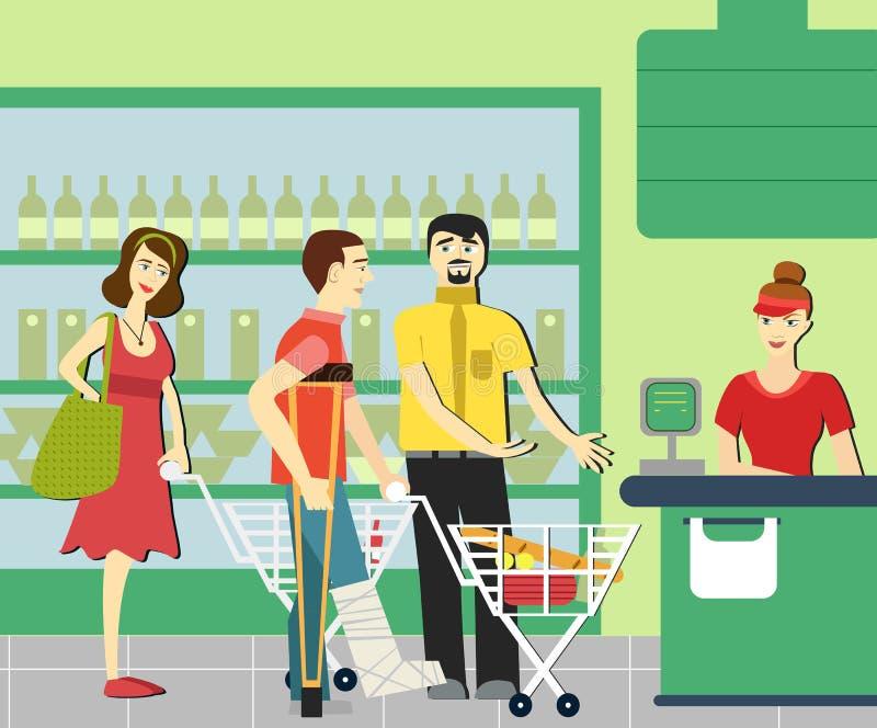 Beleefdheid de mens geeft aan gehandicapten in de supermarkt uiting Supermarktkassier De rij bij de opslag royalty-vrije illustratie