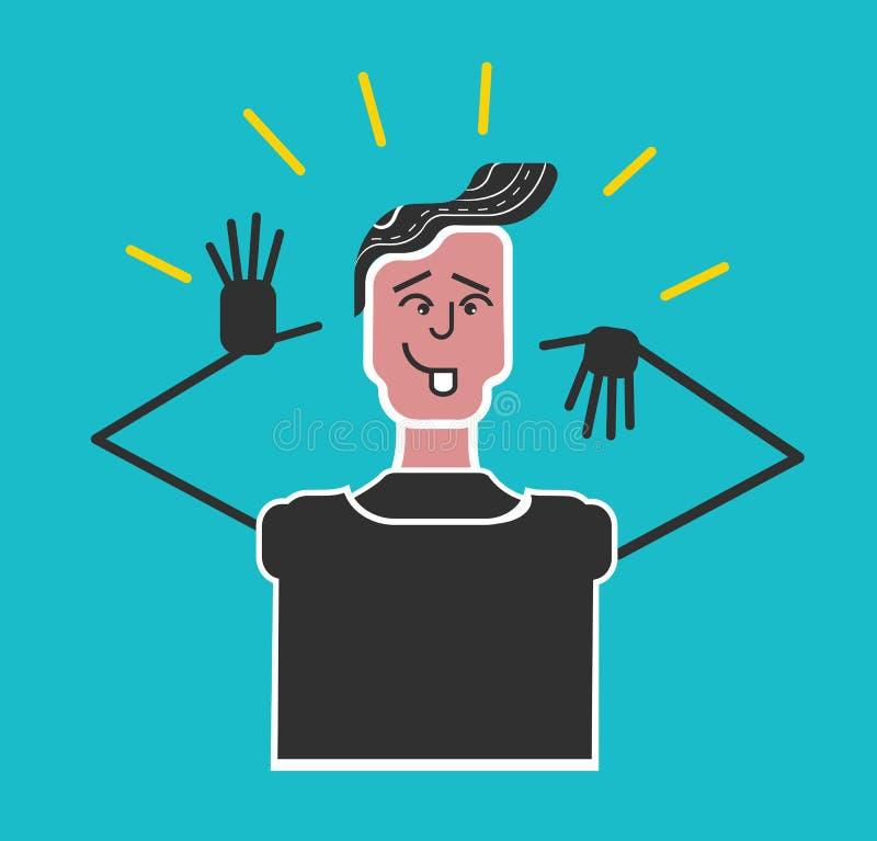 Beleefdheid en etiquette Jongen die een gezicht maken Beleefdheid en etiquette Jongen die een gezicht maken Slechte manieren Grap vector illustratie
