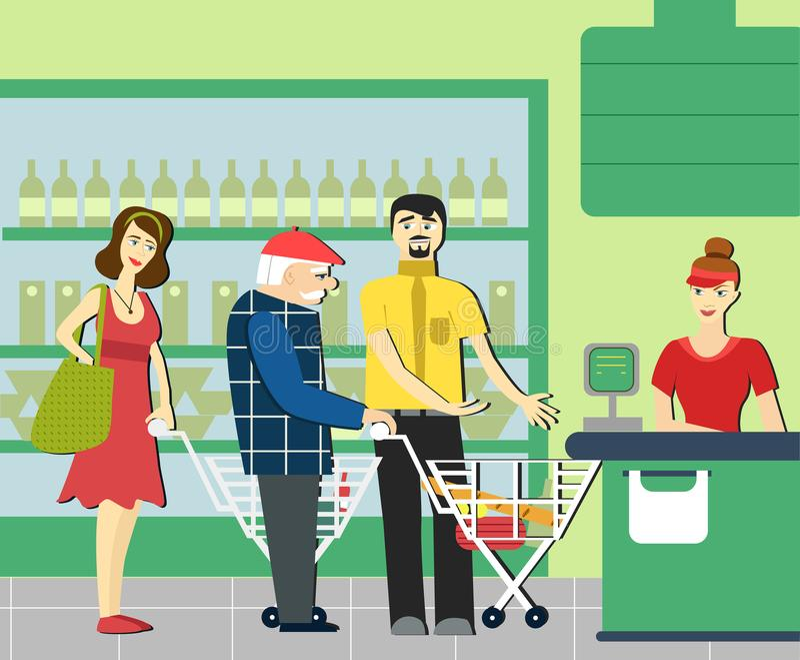 Beleefdheid teruggetrokken mens in de supermarkt om aan een bejaarde persoon uiting te geven Supermarktkassier stock illustratie