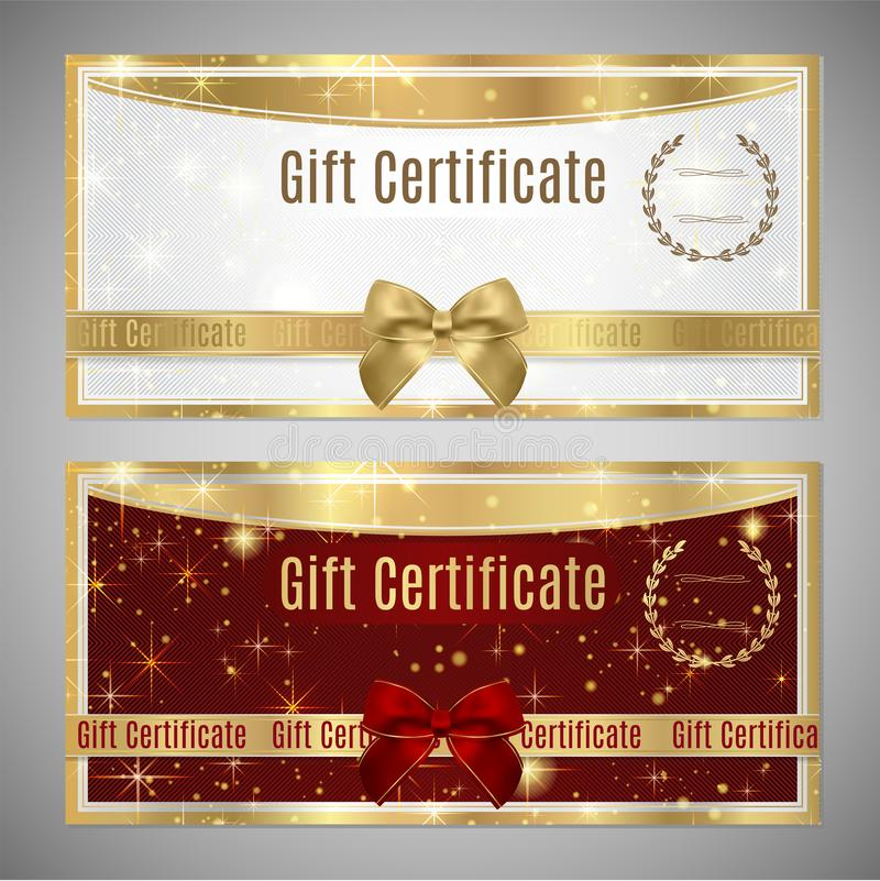 Beleg, Geschenkgutschein, Kuponschablone stock abbildung
