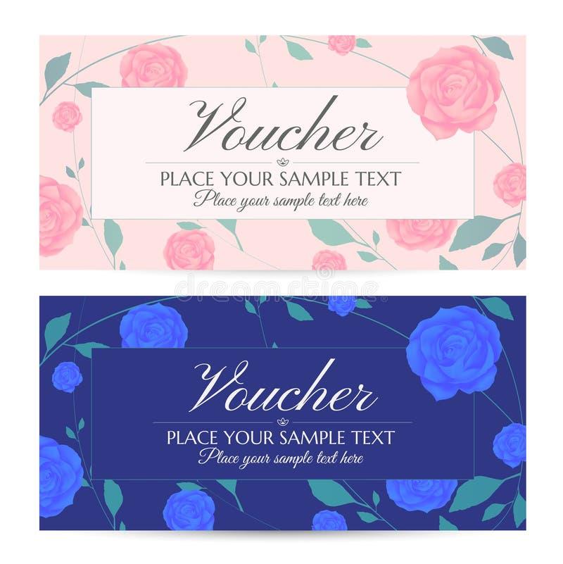 Beleg-, Gutschein-, Kuponschablone mit den blauen Blumen, rosa Rosen und grüne Blumenblätter kopieren Rahmen stock abbildung