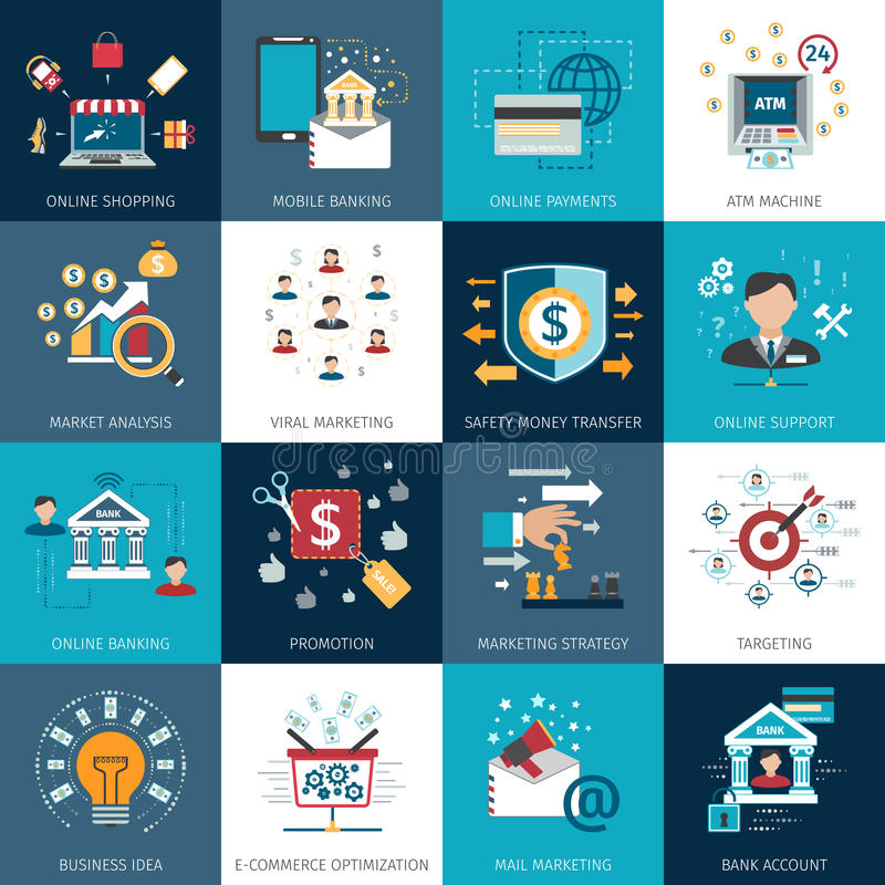 Beleggend marketing geplaatste concepten vlakke pictogrammen vector illustratie
