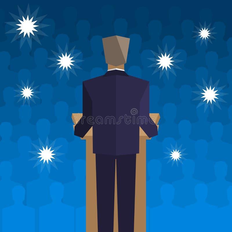 Beleid achter het podium terug naar de mensen vector illustratie