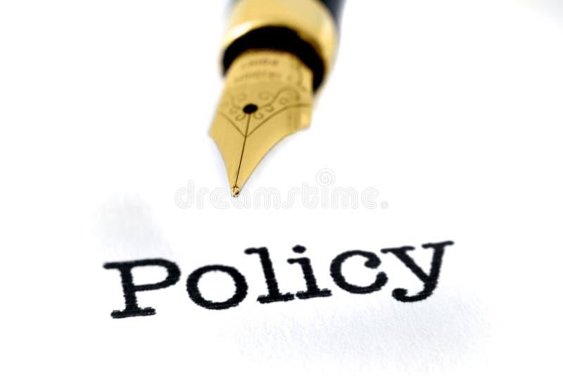 Beleid en pen stock afbeelding