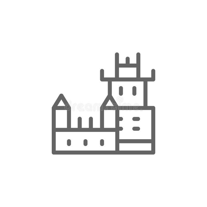 Belem, башня, значок Португалии Элемент значка Португалии Тонкая линия значок для дизайна вебсайта и развития, приложения иллюстрация вектора