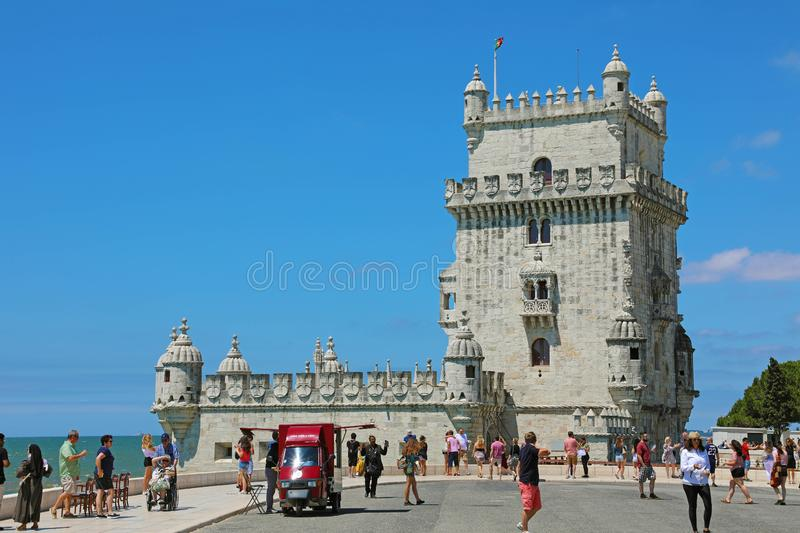 BELEM, PORTUGAL - JUNE 25, 2018: The Belem Tower Torre de Belem, Lisbon, Portugal. It is an iconic site of the city, originally. Built as a defence tower, today stock photography