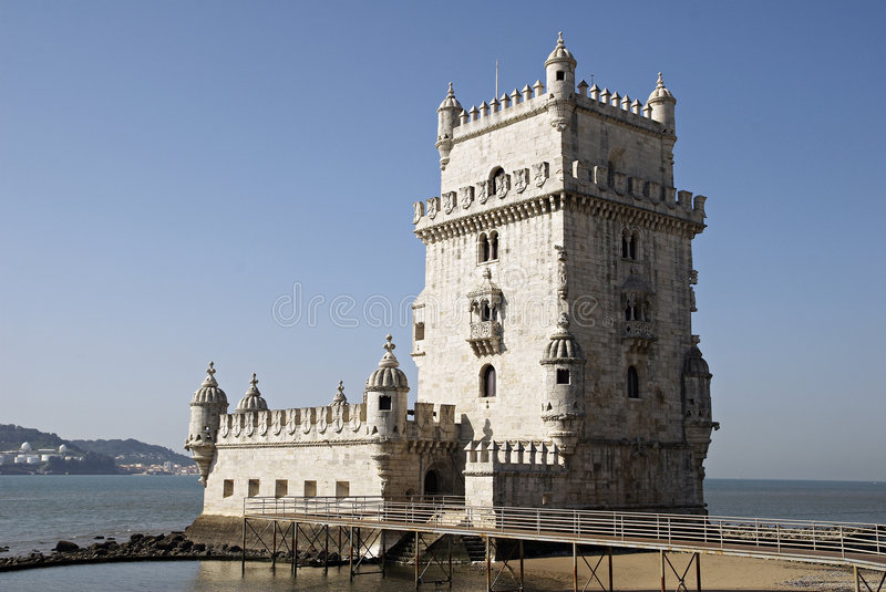 Belem's tower in Lisbon, Portugal. stock photo