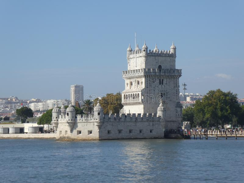 Belem Tower on the banks of the Tagus, Lisbon, Portugal, Europe. The Belém Tower is one of the architectural masterpieces of Manueline style in Lisbon. It stock images
