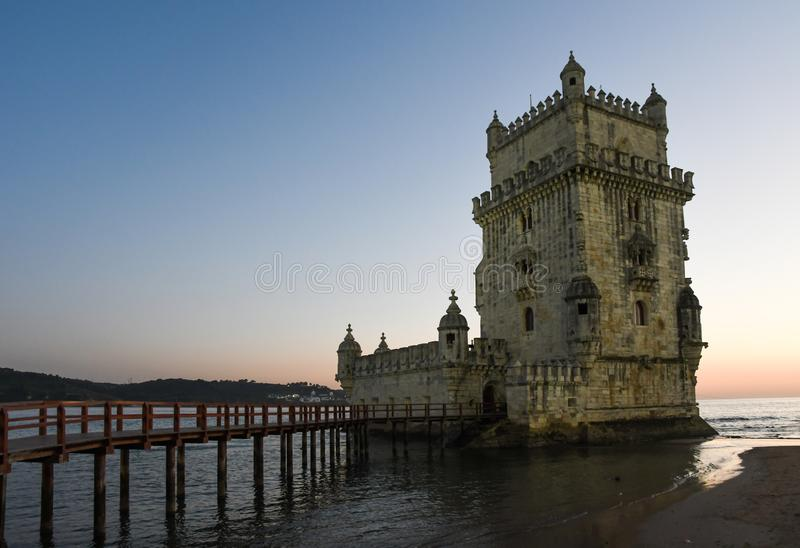Belem tower, Lisboa - Portugal. Sunset, blue sky royalty free stock photography