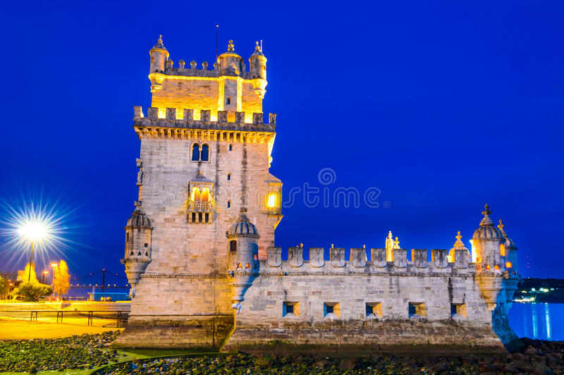 Belem Tower, Lisbon. Lisbon, Portugal. Belem Tower (Torre de Belem) is a fortified tower located at the mouth of the Tagus River royalty free stock images
