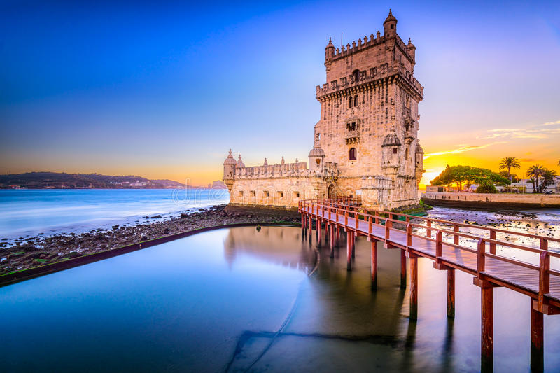 Belem Tower in Portugal royalty free stock photography
