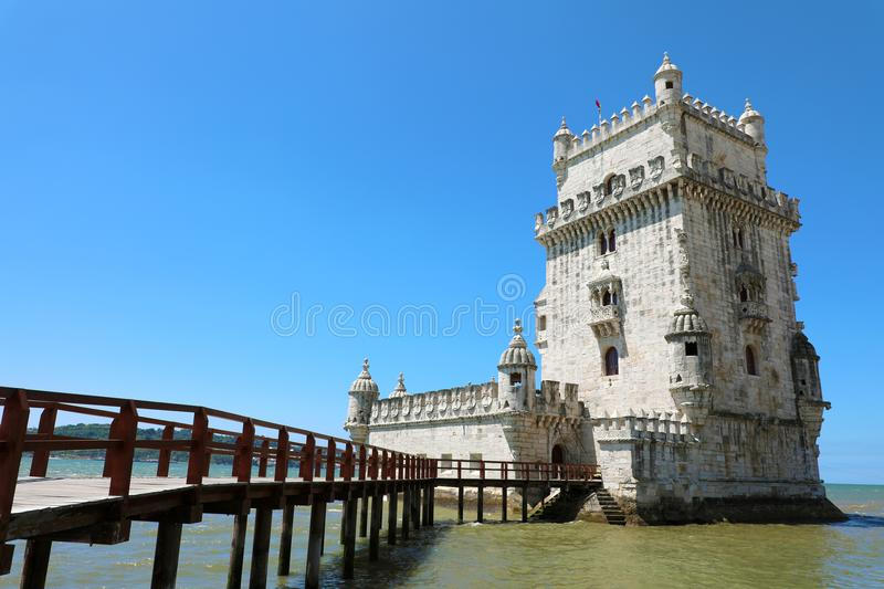 The Belem Tower Torre de Belem, Lisbon, Portugal. It is an iconic site of the city, originally built as a defence tower. Today it is used as a museum. It is a stock photo