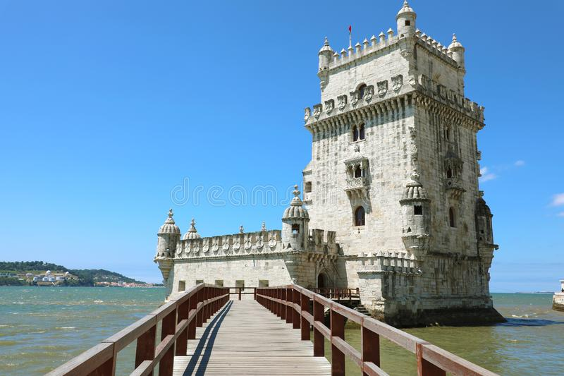 The Belem Tower Torre de Belem, Lisbon, Portugal. It is an iconic site of the city, originally built as a defence tower. Today it is used as a museum. It is a royalty free stock images