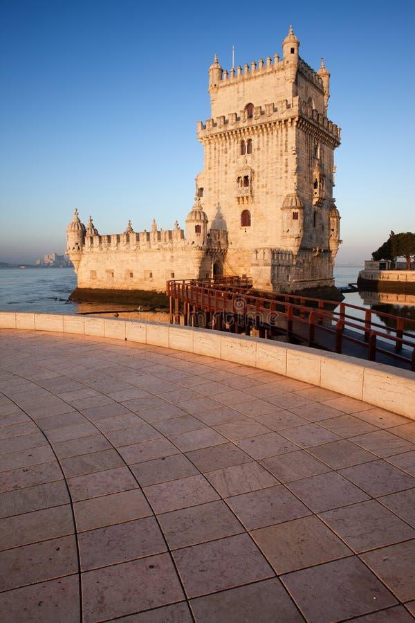 Belem wierza na Tagus rzece w Lisbon zdjęcie royalty free