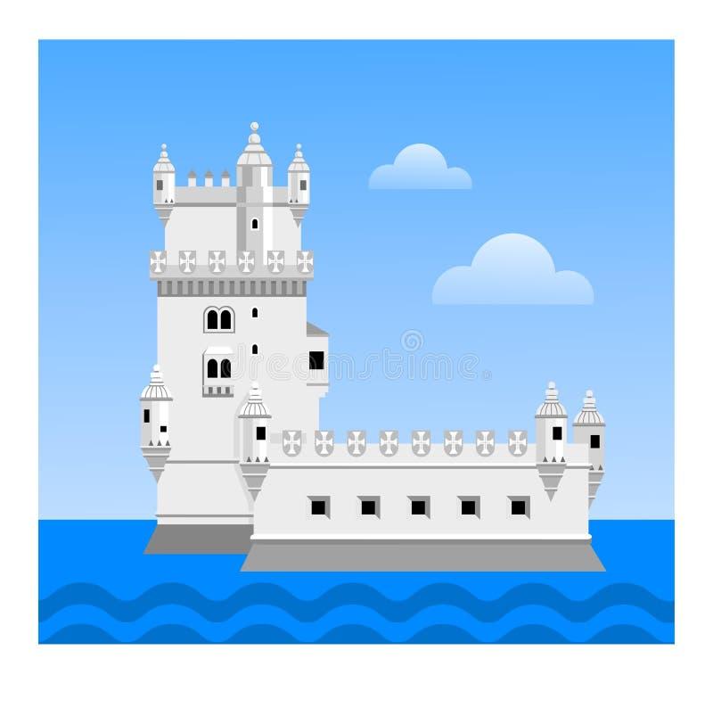 Belem wierza Podróż Portugalia ilustracja wektor
