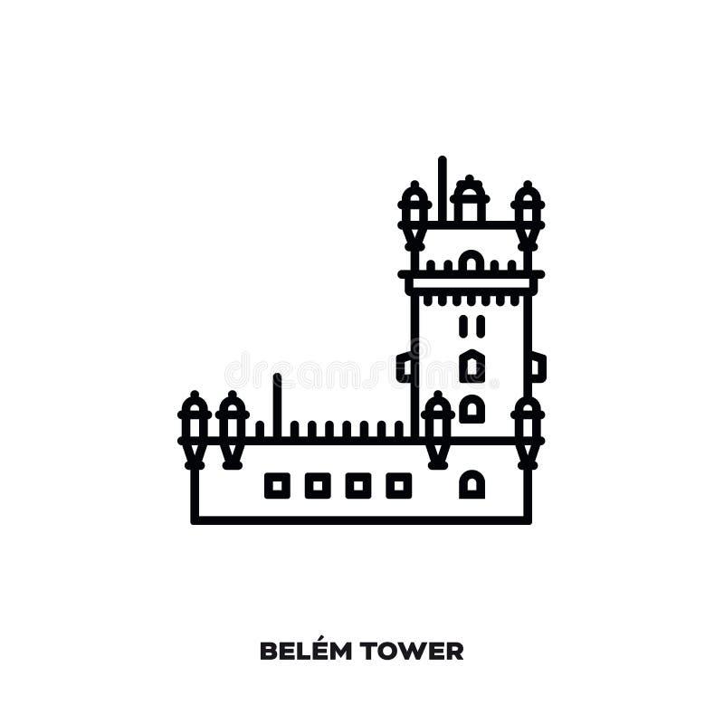 Belem wierza przy Lisbon, Portugalia wektoru linii ikona ilustracji