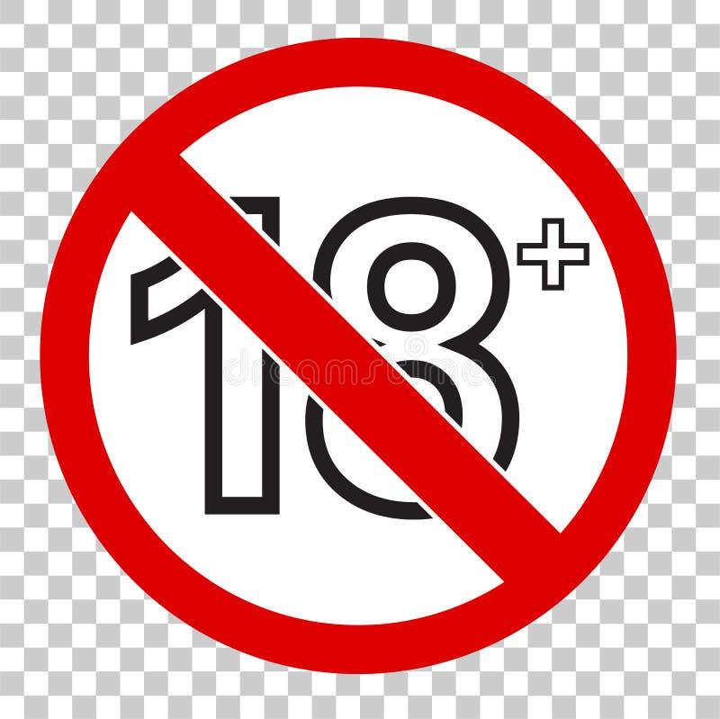 Belemmerd teken, voor 18 en hierboven, bij transparant effect backgrund vector illustratie