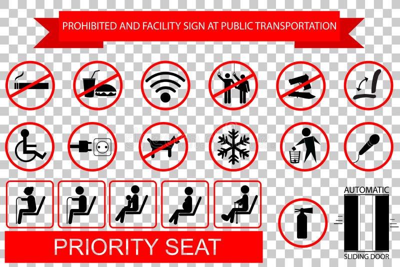 Belemmerde teken en instructie bij openbare Vervoer bij transparante effect achtergrond stock illustratie