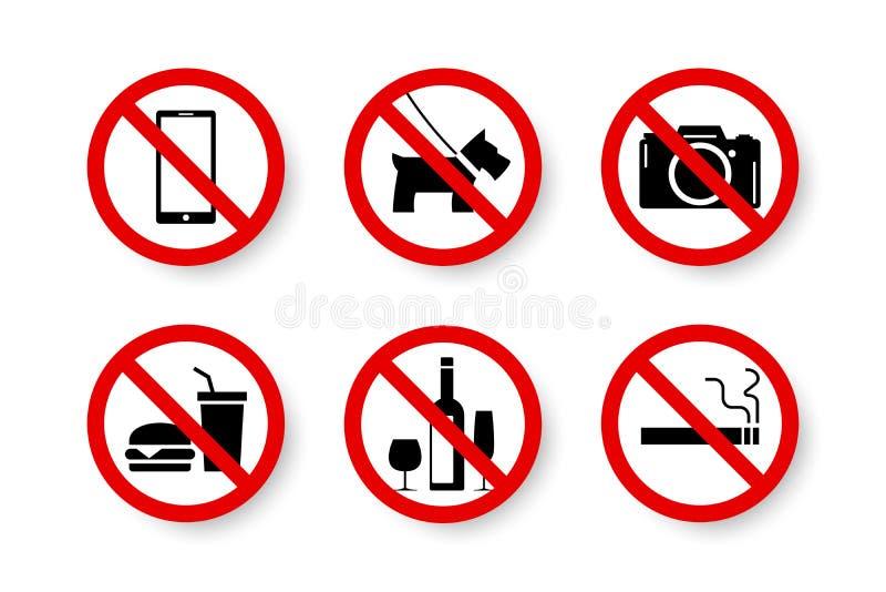 Belemmerde toegestane niet reeks van geïsoleerd verboden, geen tekens stock illustratie