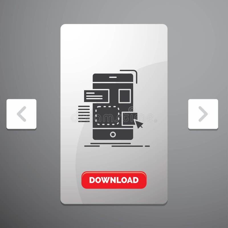 belemmering, mobiel, ontwerp, ui, ux Glyph-Pictogram in Carousal het Ontwerp van de Pagineringschuif & Rode Downloadknoop royalty-vrije illustratie