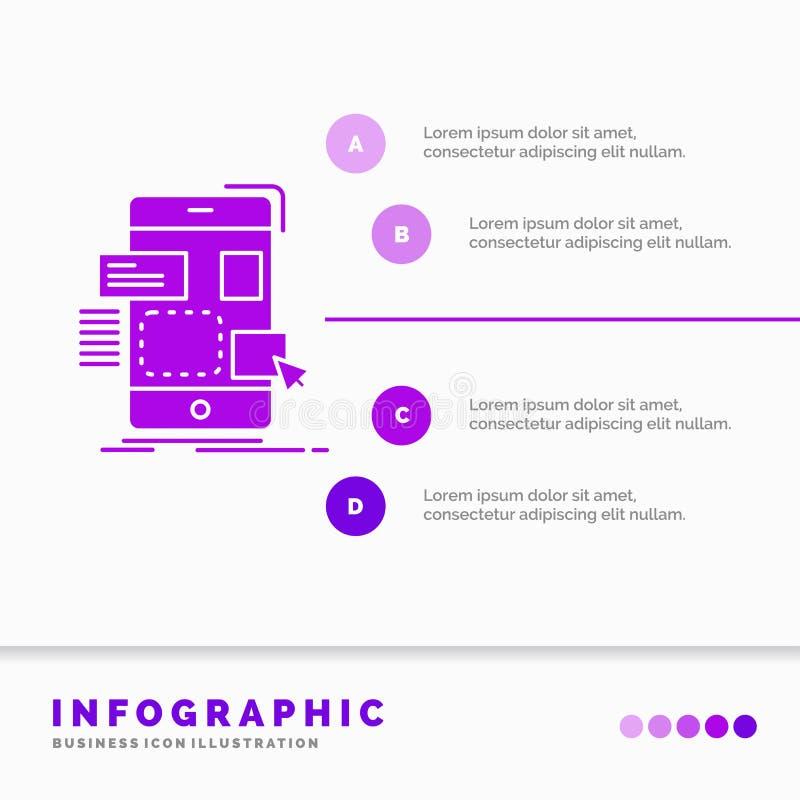 belemmering, mobiel, ontwerp, ui, ux Infographics-Malplaatje voor Website en Presentatie Infographic de stijlvector van het GLyph royalty-vrije illustratie