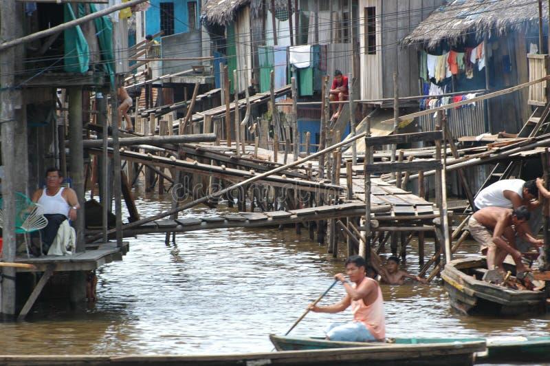 Belen村庄贫民窟在伊基托斯 免版税库存图片