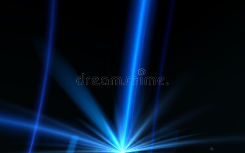 Beleuchten des blauen digitalen Blendenflecks der Zusammenfassung Aufflackernlaser auf schwarzem Hintergrund Lichteffekt des Glüh stock abbildung